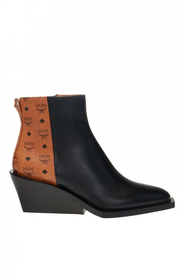 MCM Heeled ankle boots with logo