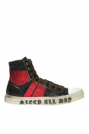 Branded high-top sneakers od Amiri
