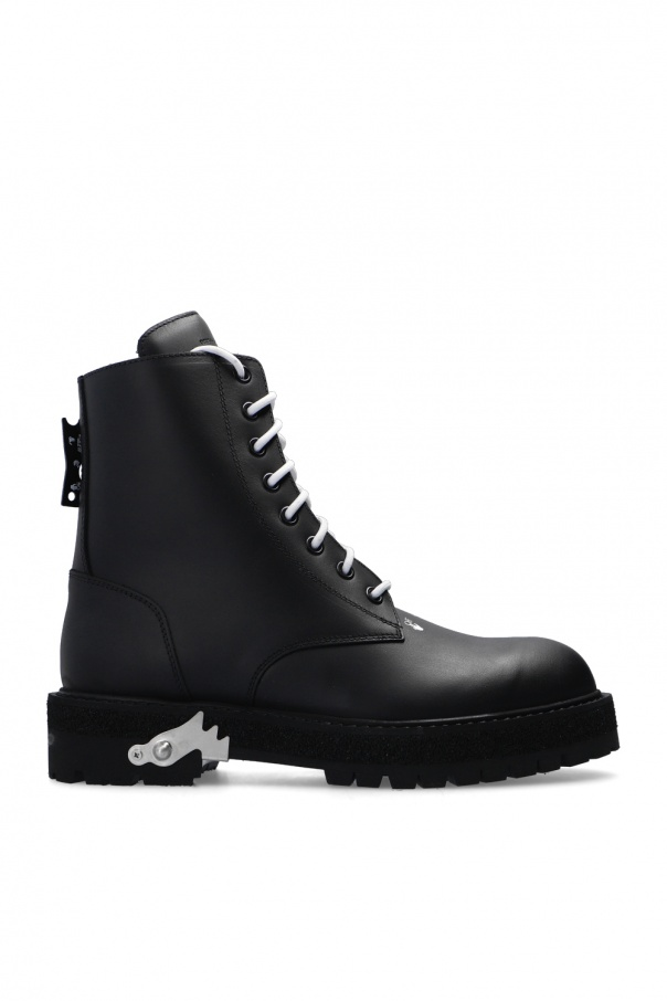 Off-White Leather ankle boots with logo