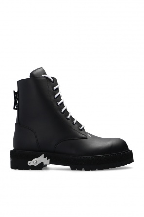 Leather ankle boots with logo od Off-White
