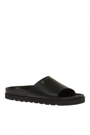 'neil' leather sliders od Giuseppe Zanotti