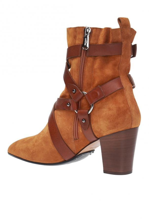 'jakie' heeled suede ankle boots od Balmain
