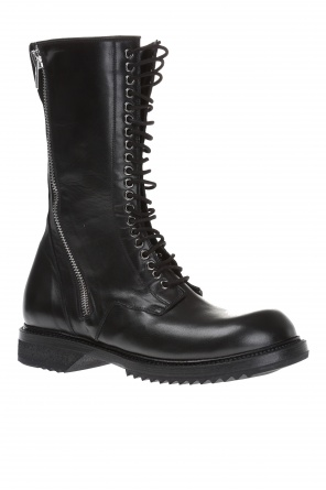 Mid calf length leather boots od Rick Owens