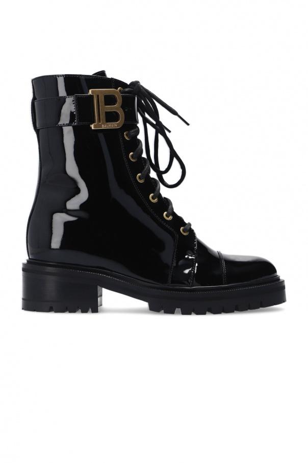 Balmain 'Rangers' patent leather boots