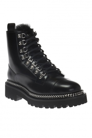 'army fur' ankle shoes od Balmain