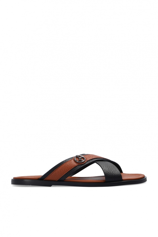 Giorgio Armani Leather slides