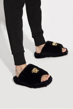 Furry platform slippers od Versace Home