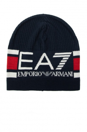 Rib-knit hat with logo od EA7 Emporio Armani