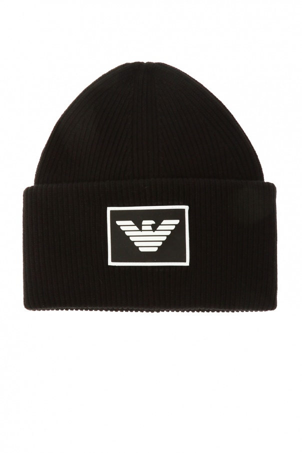 Knitted hat with logo od Emporio Armani