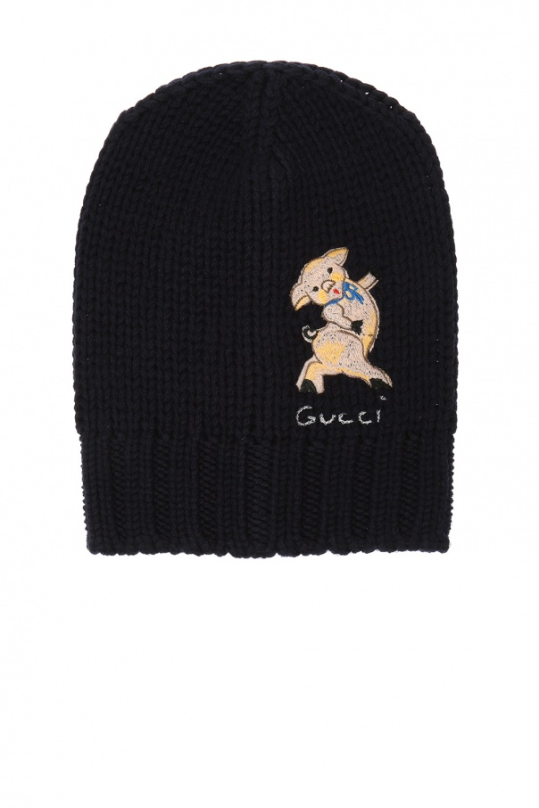 6aa507e0384 Woven hat with a logo and an animal motif Gucci - Vitkac shop online