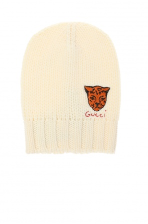 Woven hat with a logo and an animal motif od Gucci