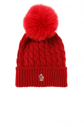 Hat with fox fur pompon od Moncler Grenoble