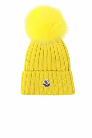 Wool hat with patch od Moncler