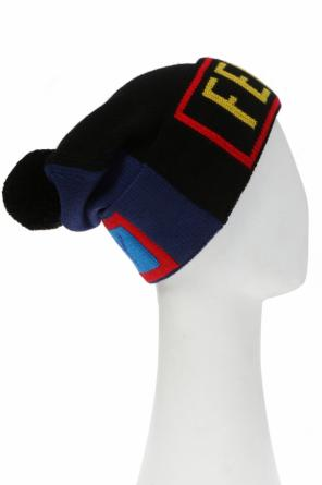Two-coloured pompom hat od Fendi