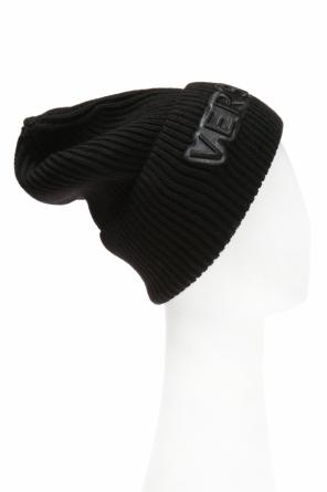 Ribbed hat with logo od Versace