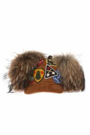 Corduroy baseball cap with ear flaps od Dsquared2