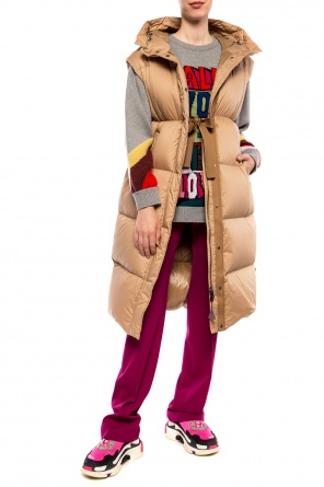 'comoe' long quilted down vest od Moncler