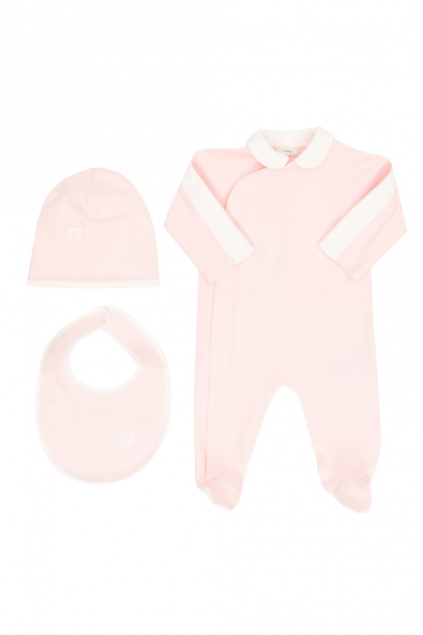 Fendi Kids Romper suit, hat and bib set