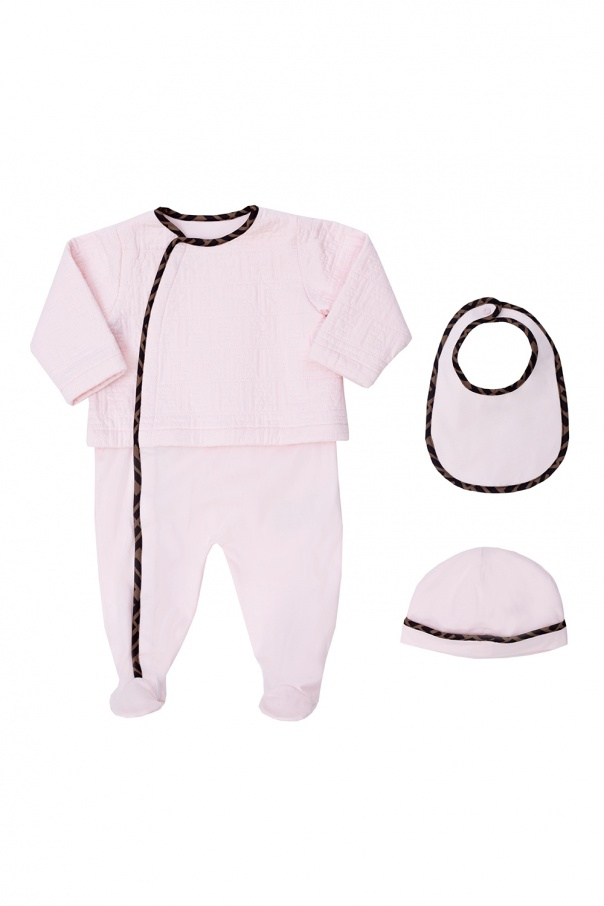 Fendi Kids Romper suit, bonnet & bib set