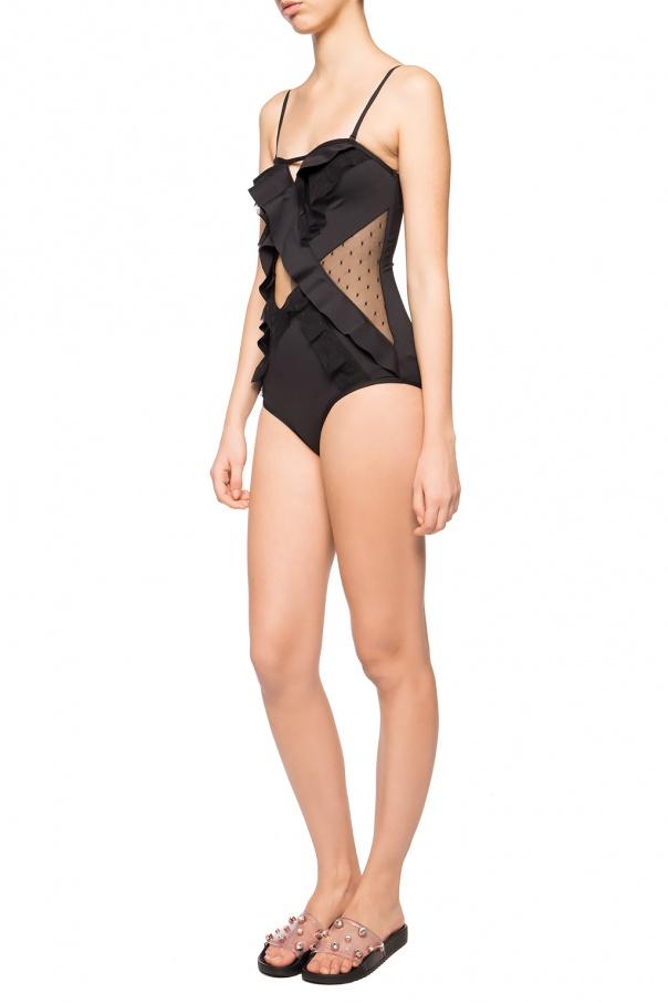 Jednoczęściowy kostium kąpielowy z falbanami od Zimmermann