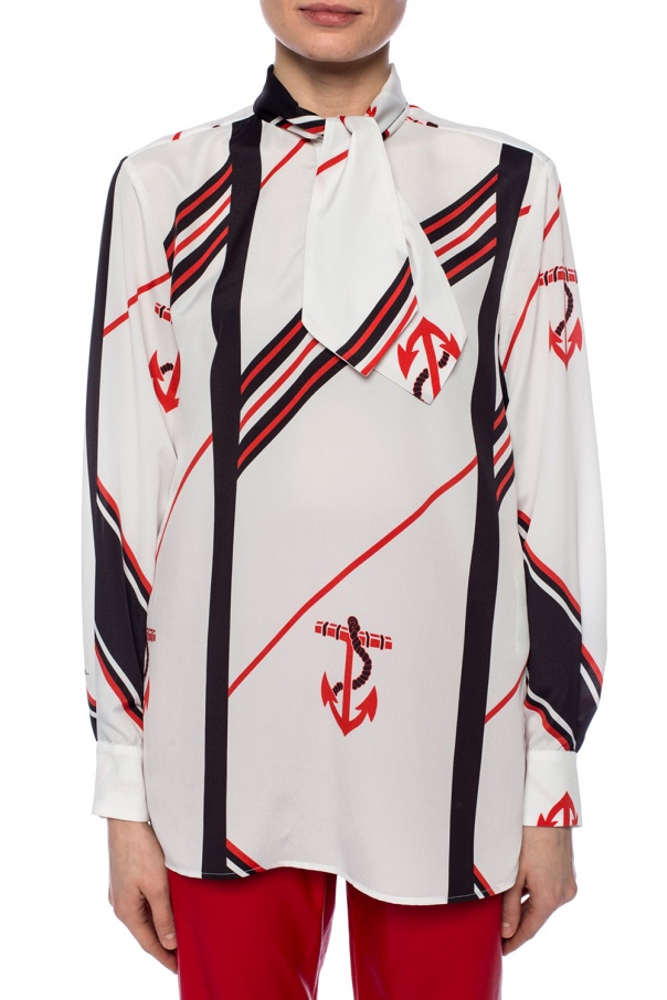 Patterned shirt with decorative collar od MSGM