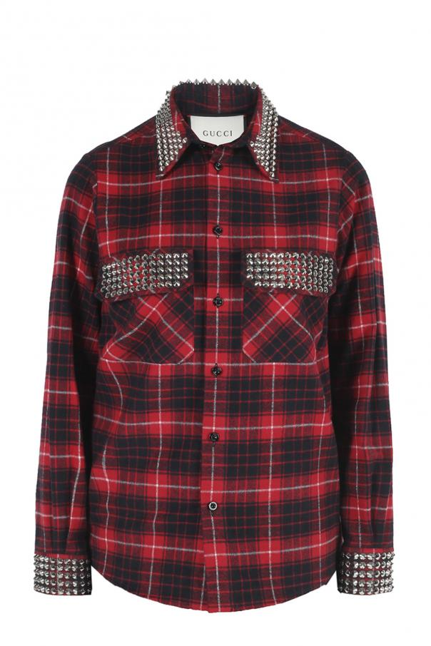 989ba8d11b9 Studded checked shirt Gucci - Vitkac shop online