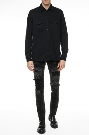 Shirt with sequinned inserts od Saint Laurent