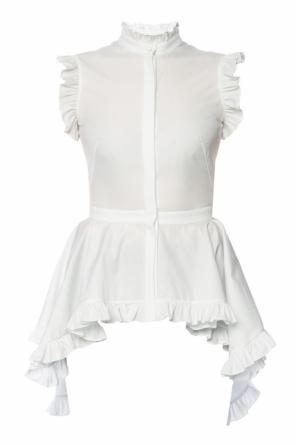 Asymmetrical top with band collar od Alexander McQueen
