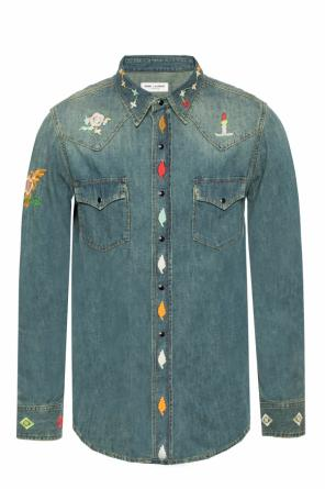 Embroidered denim shirt od Saint Laurent