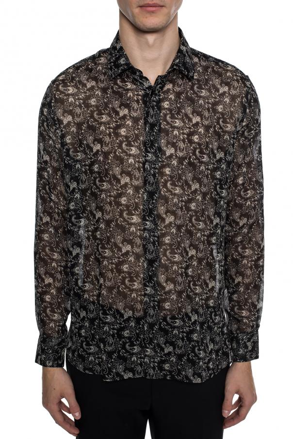 Sheer floral motif shirt od Saint Laurent