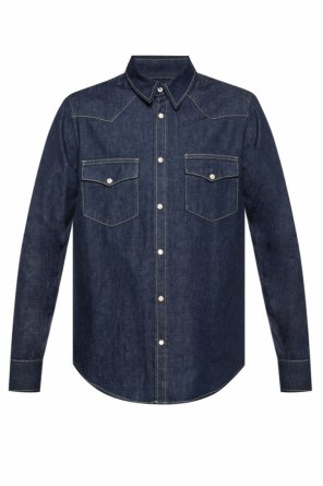 Logo-embroidered denim shirt od Alexander McQueen