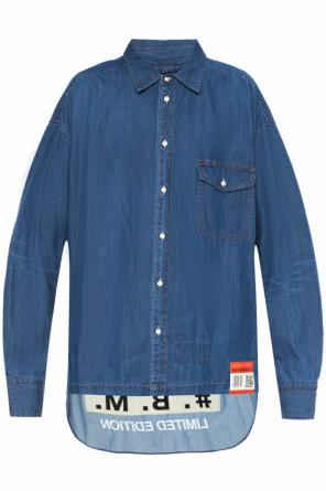 Asymmetrical shirt with inscriptions od Mihara Yasuhiro
