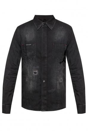 87157b694889b9 Koszula jeansowa z przetarciami od Philipp Plein Koszula jeansowa z  przetarciami od Philipp Plein