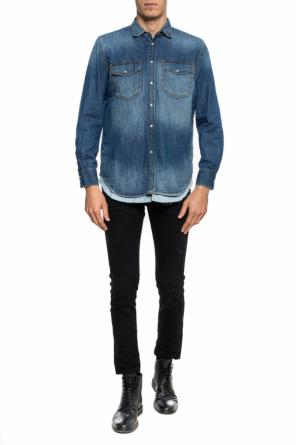 Stonewashed tiered denim shirt od Diesel