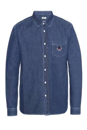 Tiger head-embroidered denim shirt od Kenzo