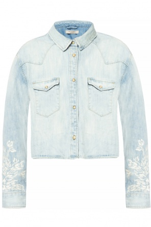 'flora' embroidered denim jacket od AllSaints