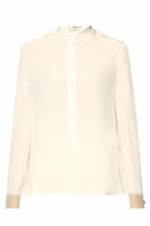 Lacing detail silk shirt od Fendi