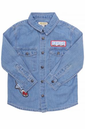 Patched denim shirt od Kenzo Kids
