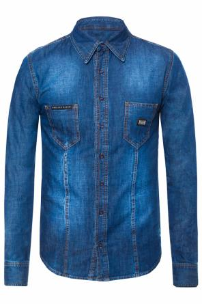 Logo-embroidered denim shirt od Philipp Plein