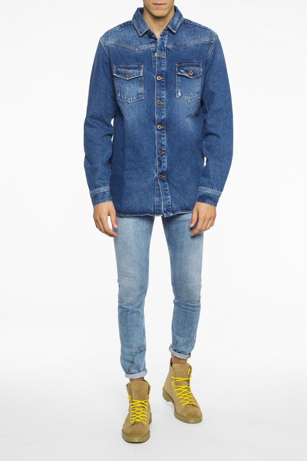 Distressed denim shirt od Off White
