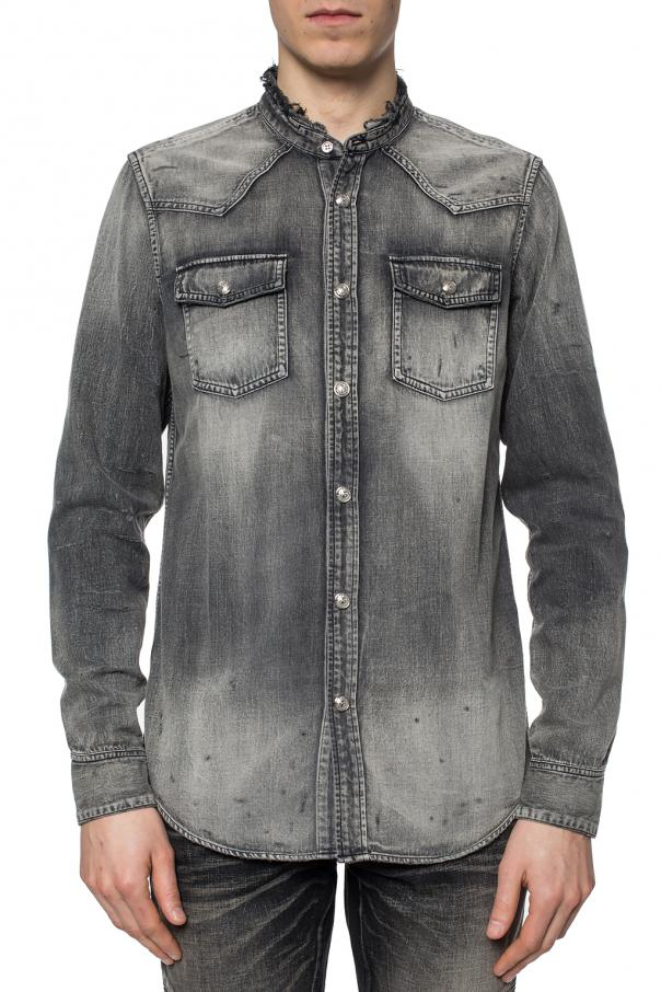 Denim shirt with decorative buttons od Balmain