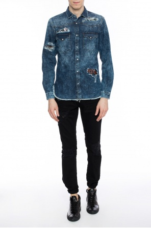 Distressed denim shirt od Just Cavalli