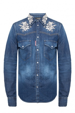 Denim shirt with sewn on applications od Dsquared2