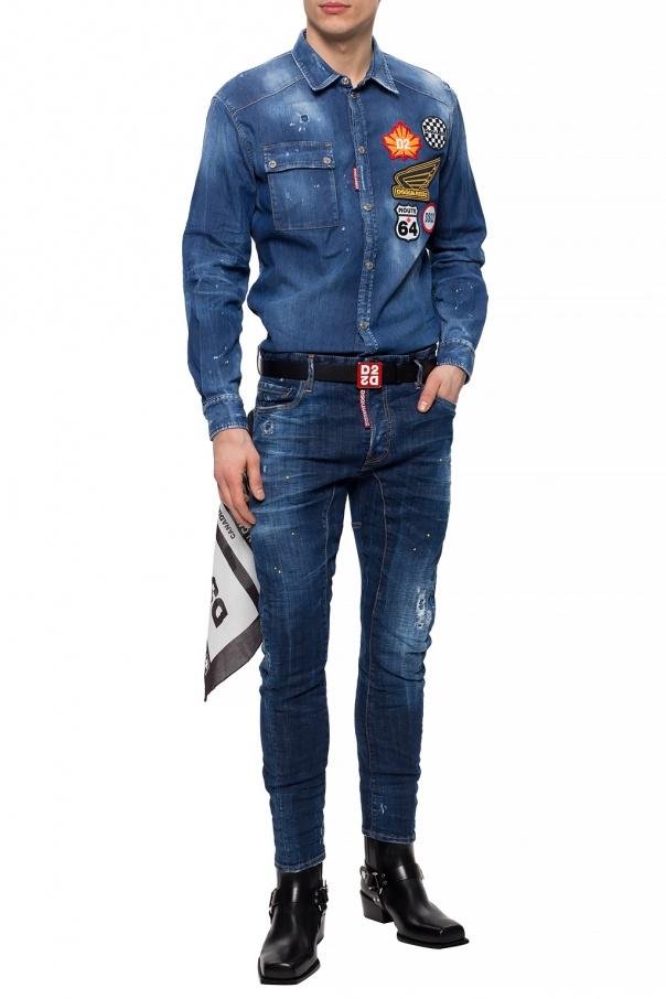 Dsquared2 Jeansowa koszula z naszywkami qzrFrwnN