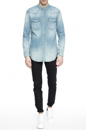 Band collar denim shirt od Balmain