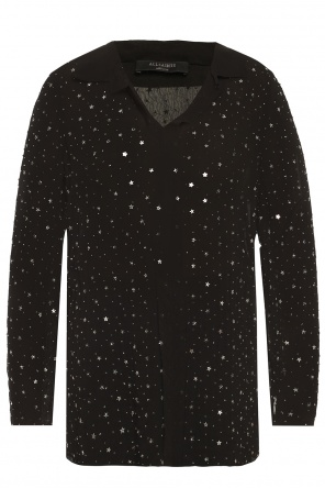 'shalien' beaded sheer shirt od AllSaints