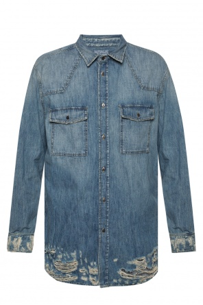 Denim shirt with rips od Diesel Black Gold