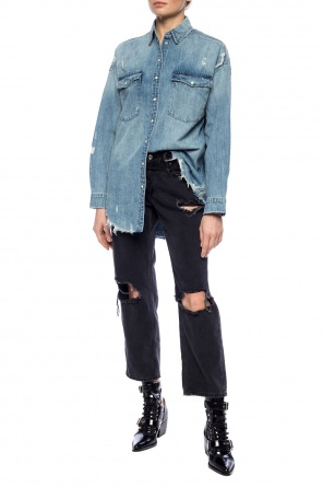 'tyla' distressed denim shirt od AllSaints