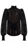 Balmain Velvet top with band collar