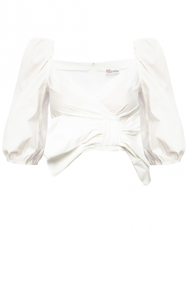 Red Valentino Smocked cropped top